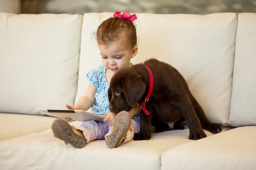 Crianças que crescem com animais