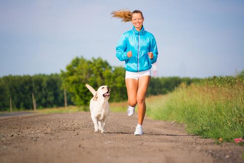 Cão correndo com dona
