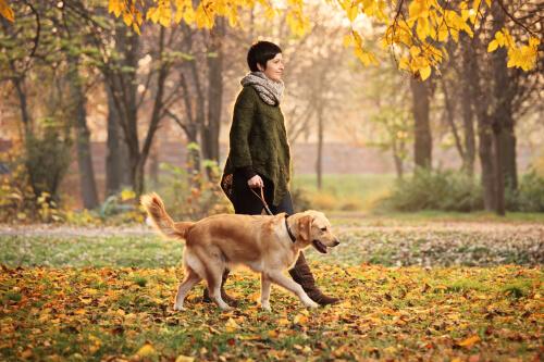 Dona passeando com cachorro