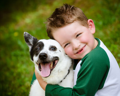 Cão com criança