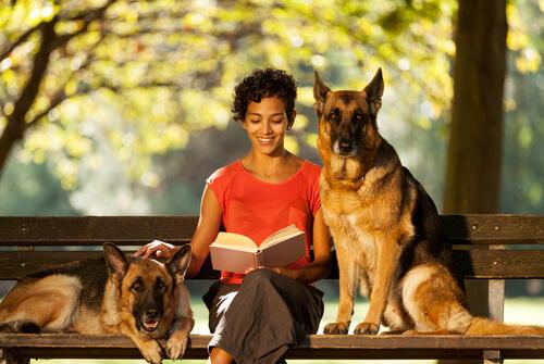 Mulher sentada com cães