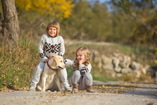 Cachorro e crianças