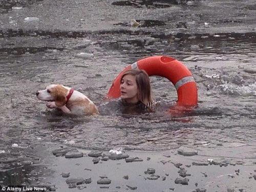 Mulher se joga em lago congelado para salvar um cão