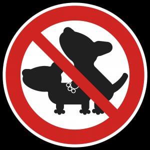 Placa indicando que é proibido cães cruzando