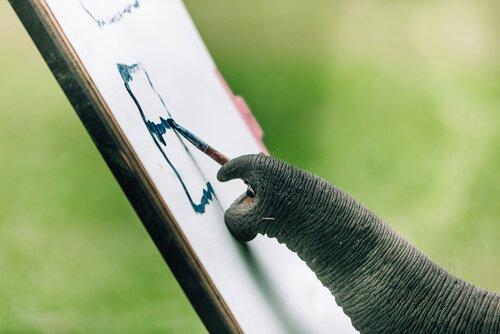 elefante que pinta