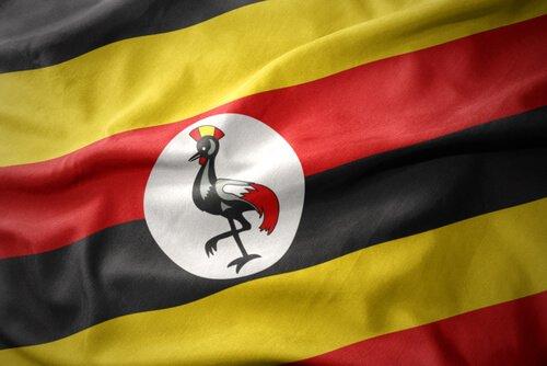 Bandeira de Uganda com Grou