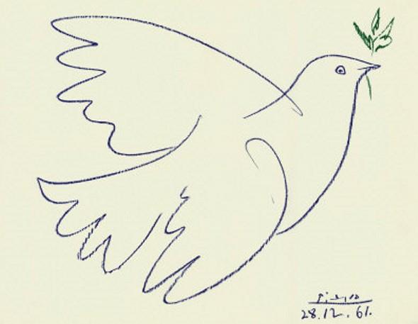 Pomba desenhada por Picasso: pela Paz