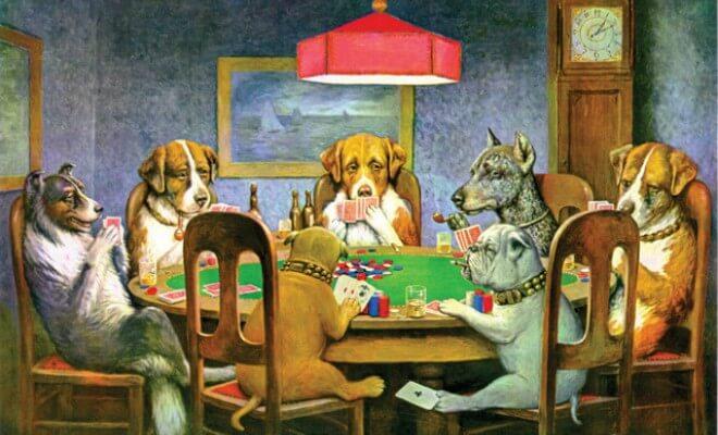 Quadro Caes A Jogar Poker