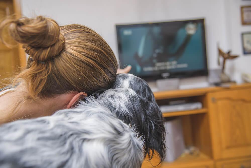 Dona com seu cão assistindo TV