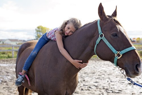 menina abraçando cavalo