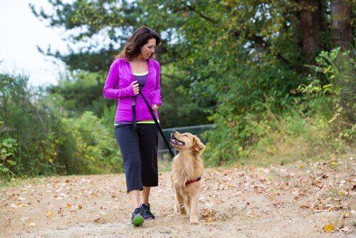 Mulher caminhando com seu cão