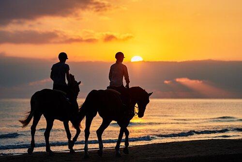 Andar de cavalo na praia