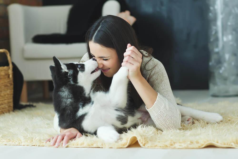 Jovem com seu cão em casa