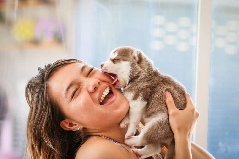 Mulher sorrindo com filhote de cachorro
