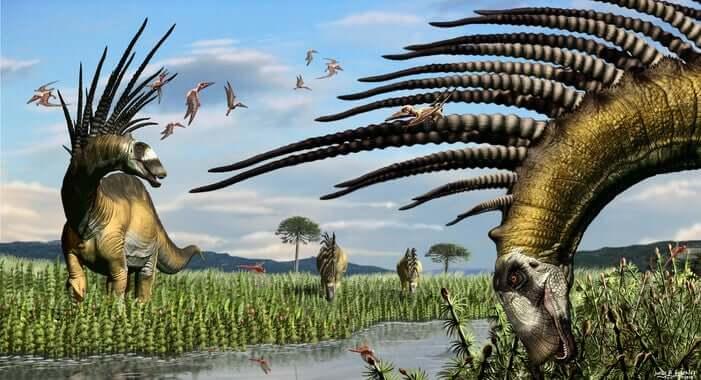 Foram descobertos restos de dinossauros com espinhos gigantes
