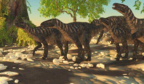 Um grupo de iguanodontes, dinossauros da Europa.