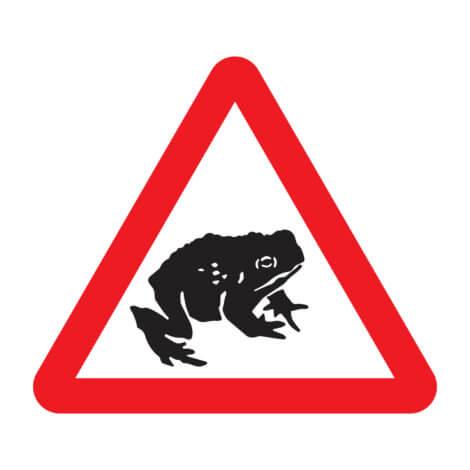 Um aviso de alerta de sapos.